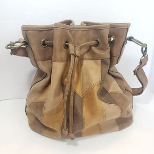Patchwork Tan Faux Leather Bucket/Hobo Bag